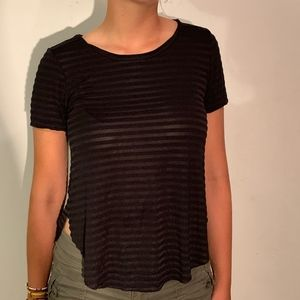 Buckle Black Striped Scoop Neck Tee